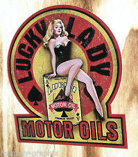 "Oldschool pin up adesivo ""LUCKY LADY"" Rockabilly 50th Sticker Auto & BIKER USA"