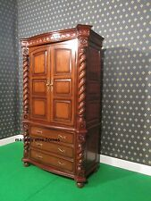Grandi Jacobean Tudor ARMOIRE Guardaroba Mansion torsione solido DI MOGANO 100% LEGNO