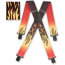 "Brimarc Mens Braces Heavy Duty Suspenders 2"" 50mm Wide Red Flame Braces"