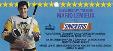 1990 MARIO LEMIEUX SNICKERS CANDY BAR CONTEST ENTRY BLANK NHL HOCKEY PENGUINS