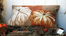 POTTERY BARN PUMPKIN EMBROIDERED LUMBAR PILLOW COVER -NWT- A SEASONAL SENSATION!