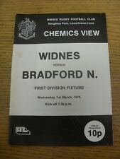 01/03/1978 Rugby League Programme: Widnes v Bradford Northern (slight marked, te