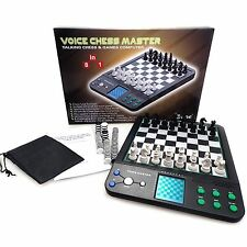 Toy Games Chess Set Talking Voice Chess & Checkers Computer Set Board Brain Game