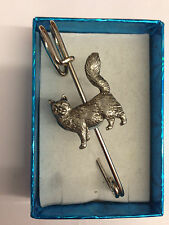 """Maine Coone Cat PP-C07 Pewter Emblem on a Kilt Pin Scarf or Brooch 3"""" 7.5 cm"""