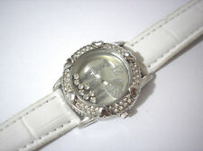 Iced Out Bling Bling Leather Band Ladies & Girls Watch White Item 3458