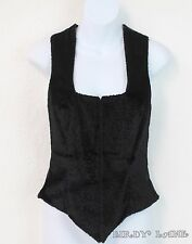 bebe Black Faux Fur Short Pile Velvet Vest Waistcoat Steampunk Cosplay Womens 10