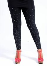 Leggings With Scattered Diamante Gems Stones Beads Details - Fashion Design
