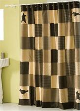 New Primitive Country STAR CROW QUILT BLOCK Black Tan Fabric Shower Curtain