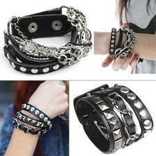 Stud Punk Rock Men's Womens Multi-tier Leather Chain Bangle Wristband Bracelet