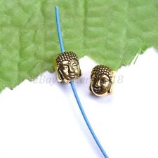10Pcs Silver Gold Copper Metal Buddha Head Bracelets Charms Beads 10X8MM B880