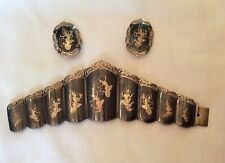 VINTAGE 1940'S SIAM SIAMESE NIELLO BIG SILVER PANEL BRACELET & EARRINGS SET