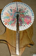 Vtg French Department Store Magasin Folding Midget Fan Elegent Paris In Spring