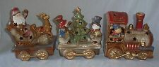 3pc Ceramic Christmas Train Set Engine Snowman Tree Santa Claus Sleigh Lighted