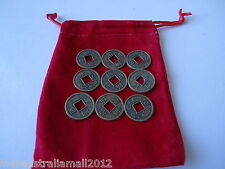 24 X Chinese Feng Shui Double Dragon I Ching Bronze Coins 17mm with Bonus Pouch