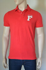 NEW Abercrombie & Fitch Mount Colvin Polo Shirt Red Cotton Pique S RRP £72