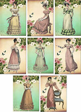 Vintage Jane Austen ball gowns small note cards tags ATC altered art set of 8