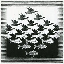 SKY AND WATER 1, 1938 Dutch Woodcut Art by Maurits Cornelis Escher POSTCARD