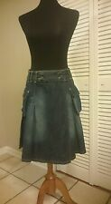 AUTHENTIC MOSCHINO JEANS WOMENS Wrapped SKIRT, DARK BLUE SIZE EUR 42, US 8