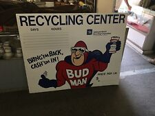Huge Vintage Budweiser Bud Man Sign Salvage Yard Anheuser-Busch Corp.