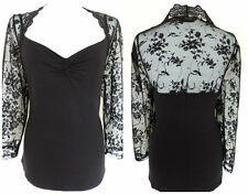 SEXY M&S BLACK TOP SHEER LACE BACK/SLEEVES ROMANTIC GOTH VAMP DARKLY ELEGANT 20