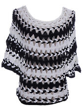 Anna-Kaci S/M Fit Black and White Three Quarter Dolman Sleeve Weave Knit Sweater