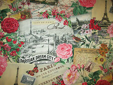 VINTAGE PARIS DREAM EIFFEL TOWER ROSE SCRIBE CREAM COTTON FABRIC BTHY