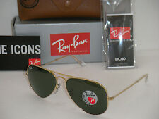 RAY BAN AVIATOR 3025 GOLD FRAME NATURAL GREEN POLARIZED RB 3025 001/58 58mm NEW