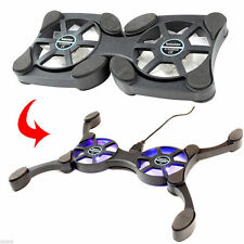 Mini Folding Chill Pad Laptop Notebook Cooling Fan Stand with 2 Fans - Blk
