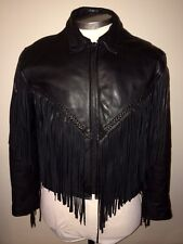 VTG 70s 80s LEATHER GALLERY MOTORCYCLE INSULATED JACKET COAT BLACK FRINGE 12 M L