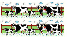 Ceramic Decals Country Cows Scene Wrap Border Fence Flowers