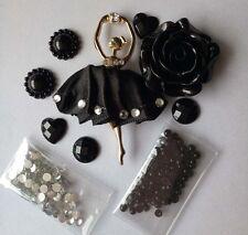 186 black Ballet girl DIY Mobile CellPhone Case Bling Alloy Crystal Deco Den Kit