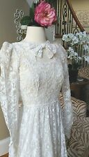 Exquisite Authentic 1930s White French Tambour Lace Wedding Gown