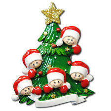 Family Of 5 Faces Personalized Christmas Tree Ornament X-mass Noel Gift NEW