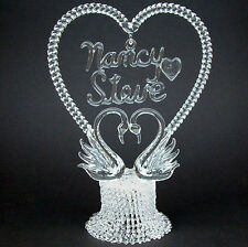 Personalized Glass Swan Swans Wedding Cake Top Topper