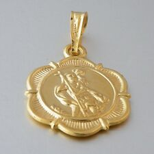 St Christopher Hallmarked 9ct 9k Yellow Gold Pendant Charm Genuine 375 Gift Box