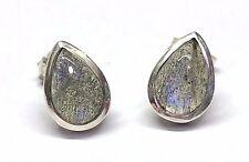 Handmade 925 Sterling Silver 10 x 7mm Teardrop Labradorite Stud Earrings + Box
