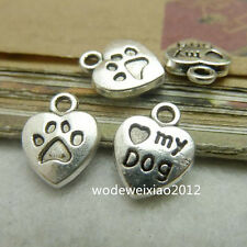 20pc Tibetan Silver Heart MY DOG Pendant Charms Beads Craft Accessories  PL102