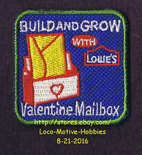 LMH PATCH Badge VALENTINE'S MAILBOX Box Holder  LOWES Build Grow Project Series