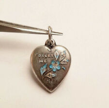 VINTAGE PUFFY HEART FORGET ME NOT FLOWER BLUE ENAMEL STERLING SILVER CHARM