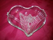 Frosted Glass HEART TRAY Serving Dish Trinket Jewelry Candy Nut Vanity Mint
