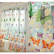 1x 200 X 90cm Floral Butterfly Sheer Curtains Sheers Voile Tulle Window Curtain