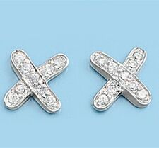 Silver Earrings with Cubic Zirconia X Shaped Earring Height 8 mm Stone Clear CZ