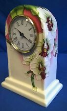 OLD TUPTON WARE TUBELINED PORCELAIN MORNING ORCHID PATTERN MANTEL CLOCK 6913