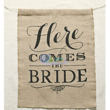Here Comes The Bride Sign Natural Hessian Rustic Twine Wedding Banner Burlap
