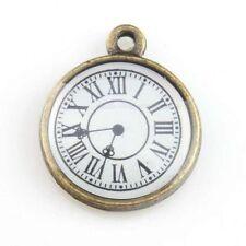 10pcs Wholesale Vintage Bronze Enamel Round Clock Shape Charms Alloy Pendant L
