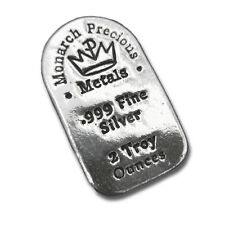 2 Troy oz. Monarch MPM Hand Poured .999 Fine Silver Bar Tombstone