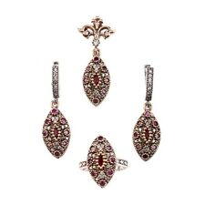 UK BASED AUTHENTIC TURKISH OTTOMAN  SULTANA JEWELLERY 925 SILVER RUBY SET