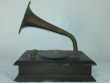 Vintage Decorative Jewelry Record Player Brass Copper Wooden Cigar Box Tandy