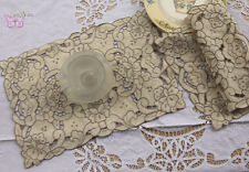 2PCS Gorgeous Hand embroidered Cotton Doilies Placemats Beige Grey