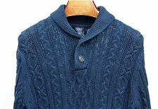 J. Crew L Gentleman's Navy Blue Cable Knit Heavy 2-Button Sweater / Jumper